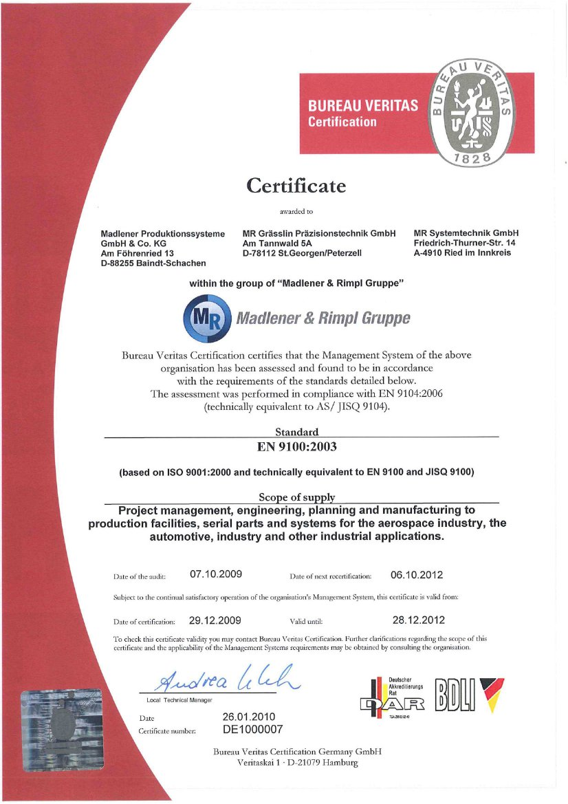 CERTIFICATE Madlener Produktionssysteme GmbH Co KG in Baindt